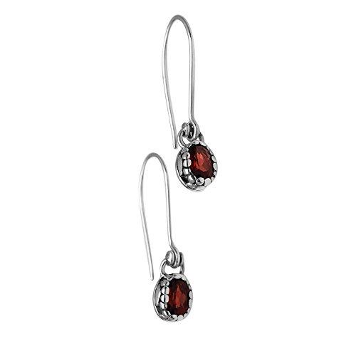 NOVICA Garnet .925 Sterling Silver Dangle Earrings