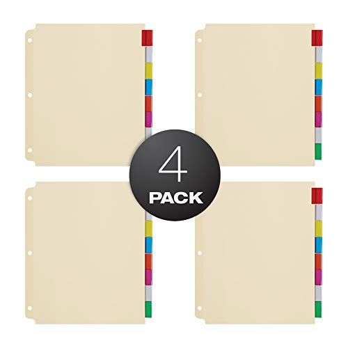 Oxford Oversized Premium Insertable Tab Extra Wide Divider, 8 Tab, Pack of 4, Assorted (R215-8A3) ()