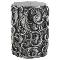 (Antique Silver Embossed Swirl Pillar CandleNew by: CC)
