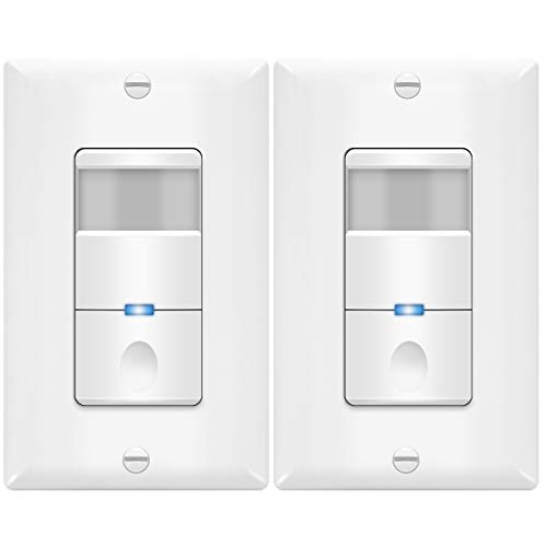 5A 360W LED//CFL TOPGREENER Motion Switch TDOS5-JM-W-2PCS PIR Sensor with Ambient Light Level No Neutral Ground Wire Required 2 Pack Single Pole Occupancy /& Vacancy Modes White