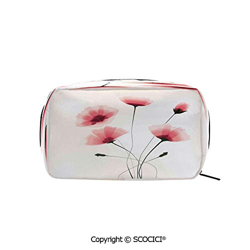 Rectangle Organizer Toiletry Makeup Bags Pouch Pure Romantic Cool Simple Natural Flower with Blossoms Artwork Portable Makeup Brushes -