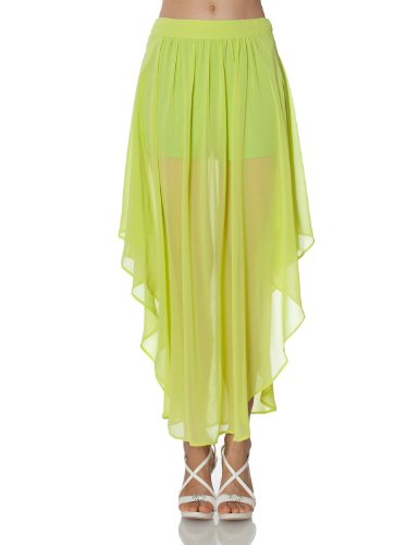 J Tomson Womens Asymmetrical Sheer Maxi Skirt With