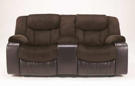 Tafton Java Fabric And Faux Leather Double Reclining Loveseat With Console