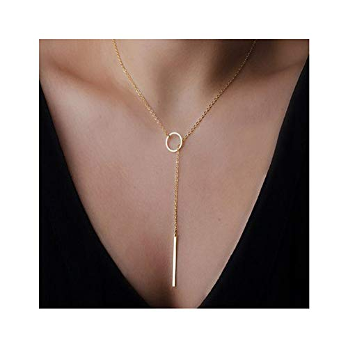(Aineecy Simple Circle Round Choker Necklace Link Statement Tiny Geometric Bar Stick Pendant Necklace Y Clavicle Chain Necklace for Women Girls(Gold))