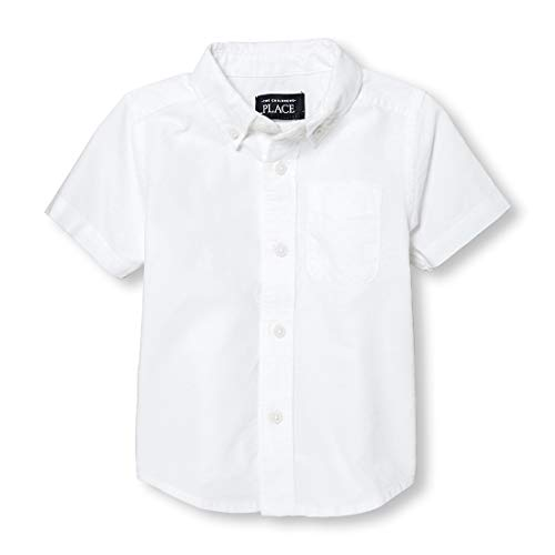 The Children's Place Baby Boys' Short Sleeve Uniform Oxford Shirt, White 4764, 9-12 Months