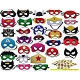 (Pixie Supplies Superhero Felt Masks Avengers 100 Free Stickers 30 Pack Party Supplies Favors Kids Costume)