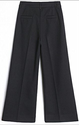 Waist Casual High Wool Ankle Warm Wide Black Pants Blend UK Women today Leg f0xTFww