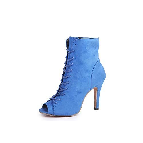 Summer Women Sexy Wedge Canvas Peep Toe Shoes High Heels Beach Boots Platform Rome,Blue,42