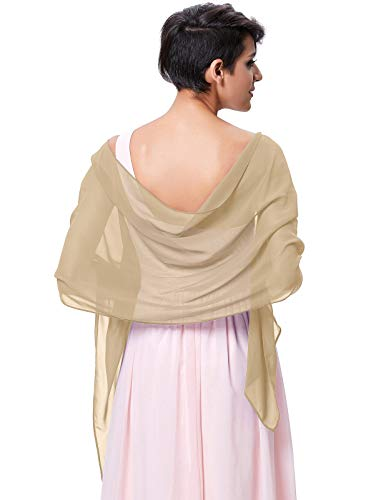 Kate Kasin Soft Chiffon Scarve Shawls Wraps and Pashmina for Evening Party KK229 (Deep Beige, 8018inch)