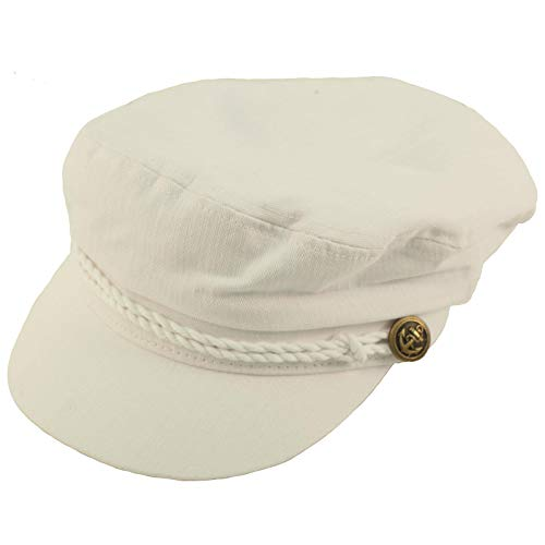 Epoch Men's Summer Cotton Greek Fisherman Sailor Fiddler Driver Hat Flat Cap White]()