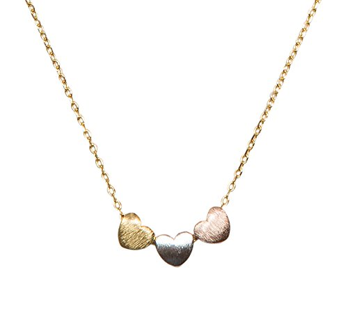SPUNKYsoul Handmade 3 Heart Necklace Collection (Gold Chain with Gold Silver Rose Gold -