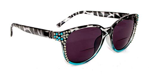 Sunset Blvd, Bifocal Sunglasses, Sun Readers Women Bling w/Black Diamond & BLUE Zircon SWAROVSKI Crystals +1.25 +1.50 +1.75 +2.00 +2.25 +2.50 +2.75 +3.00 Black + Turquoise Leopard Frame from NY FIFTH AVENUE