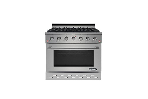 NXR SC3611 36″ 5.5 cu.ft. Professional Style Gas Range with Convection Oven, Stainless Steel