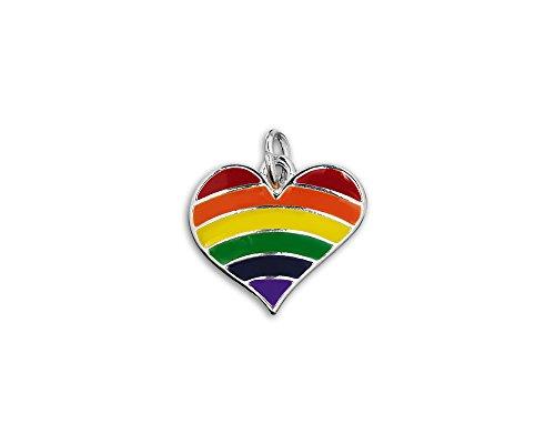 LGBTQ Gay Pride - Rainbow Striped Heart Charm in a Bag (1 Charm - Retail)