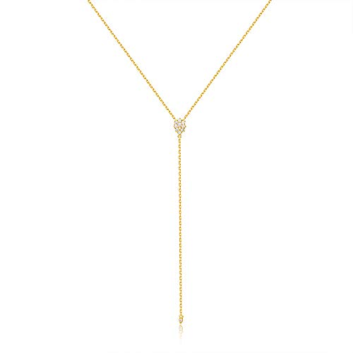 espere Dainty Sterling Silver Necklace Small Waterdrop Lariat Necklace Y-Shaped 18K Gold Plating ()