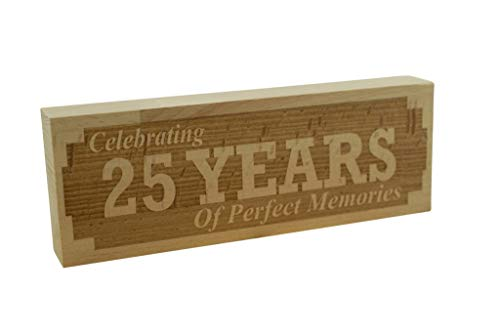 - Twenty Five Year Anniversary Celebrating 25 Years Perfect Memories Solid Beech Ornament Block - 25th Anniversary