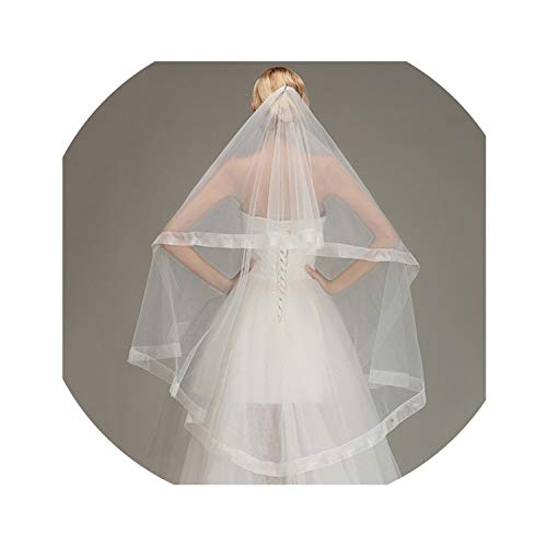 - Ribbon Edge Fingertip Wedding Veil One Layer Soft Tulle Short Bridal Veil without Comb,Ivory