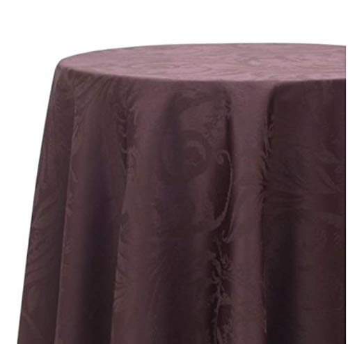 - Autumn Scroll Damask Tablecloth in a Fudge Color with Elegant Scroll Designs (60 Inches x 104 Inches)