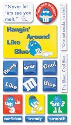 (M&M Blue Candy Tiles Epoxy Scrapbook Stickers (MMTS006))