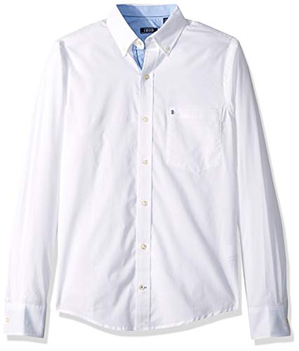 IZOD Men's Slim Fit Button Down Long Sleeve Stretch Performance Solid Shirt, Bright White, Large ()