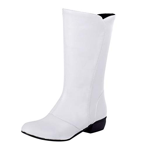 Clearance!Christmas Winter Women Vintage Plat Leather Boots Ladies Casual Solid Waterproof Soft Surface Anti-Skid Low-Heeled Calf Shoe (White, US:9.5)