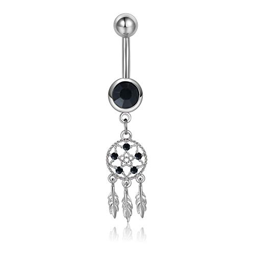14g Black Dream Cather Belly Button Rings Surgical Steel Crystal Navel Rings Piercing Jewelry Women