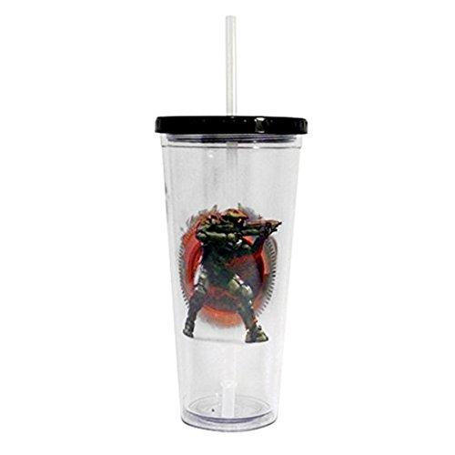 Halo Master Chief BPA Free Plastic 24 OZ Carnival Cup (Transparent, Pack of 1) - Gifts & Merchandise Drinking Glass Travel Tumbler (Carnival Glass Cup)
