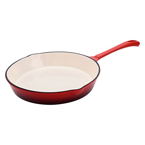 Hamilton Beach 8 Inch Enameled Coated Solid Cast Iron Frying Pan Skillet, Red