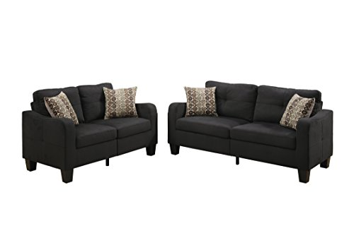 Poundex Bobkona Spencer Linen-Like Polyfabric 2Piece Sofa & Loveseat Set in Black ()