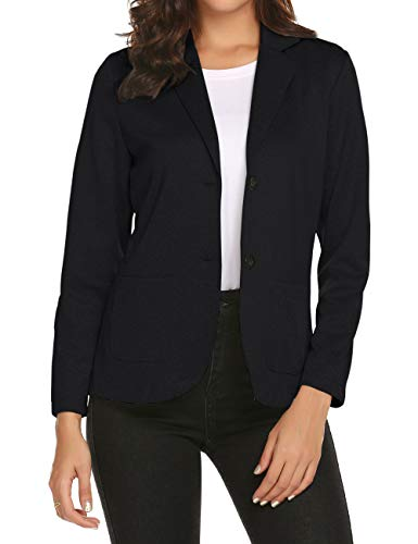 Womens Stretch Blazer Long Sleeves Professional Jackets for Women Black XL