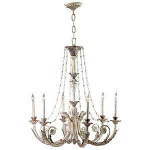 Cyan Lighting 6491-6-28 Abelle - Six Light Chandelier, Parisian White Finish with Clear Crystal