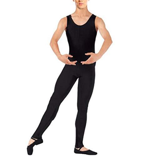 YiZYiF Men's Lycra Ballet Sleeveless Full Body Tight Jumpsuit Unitards Dance Costumes Black X-Large