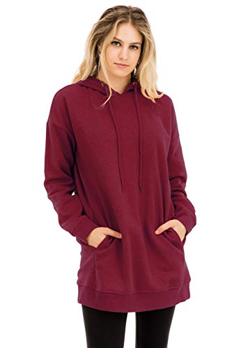 - Casual Loose Fit Long Sleeves Over-Sized Hoodie Sweatshirts Cabernet 2X