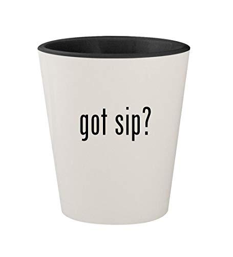 got sip? - Ceramic White Outer & Black Inner 1.5oz Shot Glass