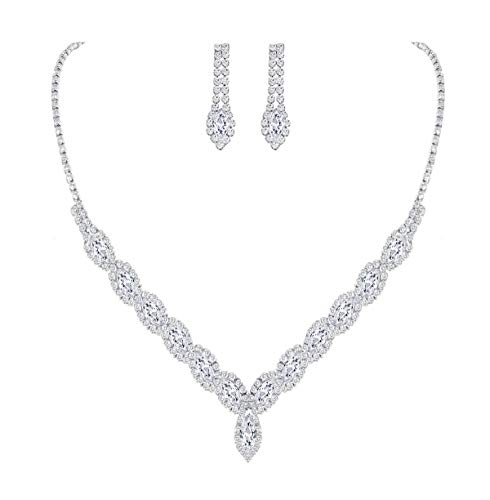 (YSOUL Sparkling CZ Rhinestone Bridal Bridesmaid Jewelry Set Necklace Earrings for Wedding Evening Party Prom (White Gold))
