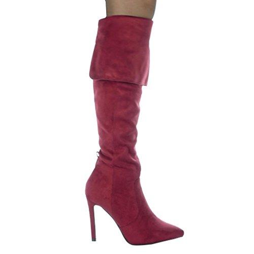Bordo Stiletto Classic 5 Cm Stivali Tacco Scarpe Moda Sexy Angkorly Alti 10 Donna Da UFnYxa