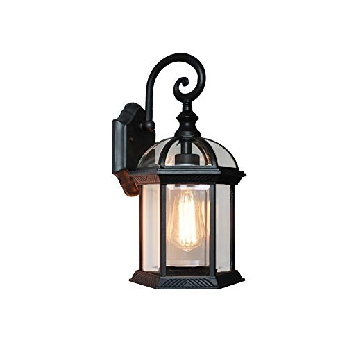 Wylolik Simple Design Courtyard Garden Lighting Wall Lamp Six Sides Transparent Glass Lantern Wall Mount Black Fixture Wall Light Waterproof Embedded Hardwired Task Wall Sconce Porch Fence Light