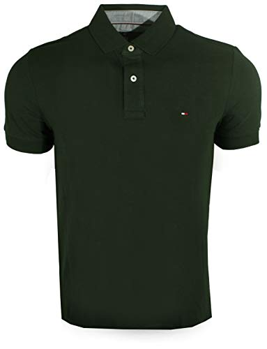 Tommy Hilfiger Mens Custom Fit Solid Color Polo Shirt (X-Small, Dark Green)