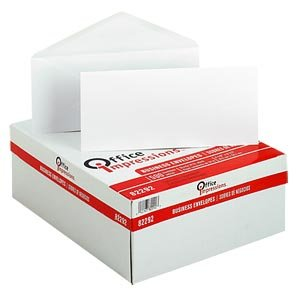 10 Executive Envelopes - Office Impressions Executive Business Envelopes (#10) 4-1/8x9-1/2-Inch with Gummed Seal - White (Box of 500)