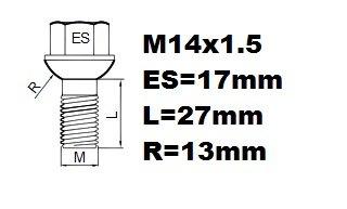Les Audi A3 professionnelles 2003-2013 verrous de roues antivol vis M14x1,5 alliages