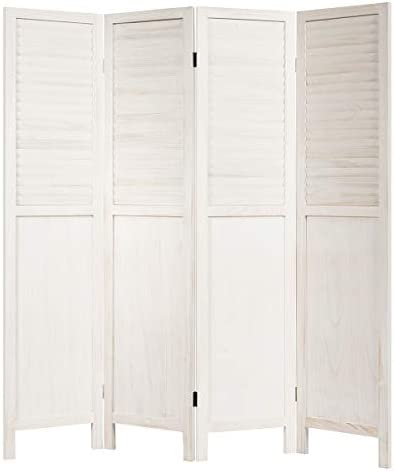Giantex 4 Panel Wooden Room Divider Screen, Portable Folding 6 ft Partition Screen, Wood Panel Divider Wall Divider, Solid Folding Privacy Screens for Home Office Divider Screen White