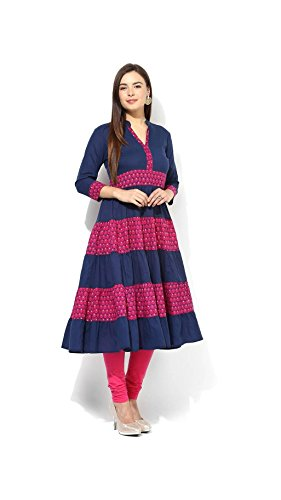 DreamAngel Blue Printed Cotton Anarkali Ready Made Stitched Kurti + Leggings (Large)