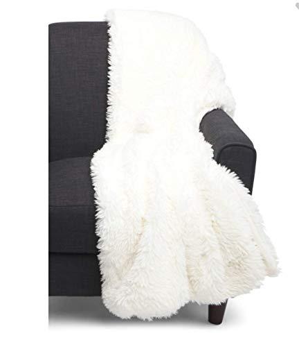 Tahari Home Mink Faux Fur Throw Blanket Shaggy Soft in Ivory