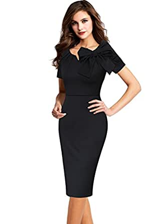 VfEmage Women's Celebrity Vintage Bowknot Party Cocktail Stretch Bodycon Dress 9241 BLK S