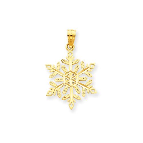 14k Yellow Gold, Snowflake Pendant 14k Yellow Gold Snowflake Pendant