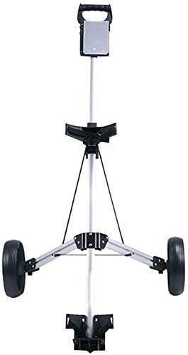 XBSLJ Golf Push Cart 2 Wheel Golf Push Cart, Portable Golf Trolley Collapsible Lightweight Pushcart for Golf Accessories Foldable 2 Wheel Push Pull Golf Cart/Cup Holder Trolley Swivel Steel Light