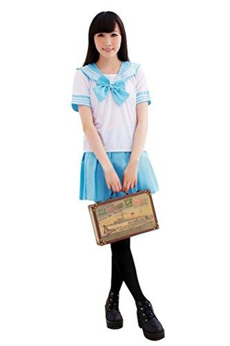 Memorose Womens Cosplay Costume Anime Girl Lolita Japan School Uniform Dress Blue ()