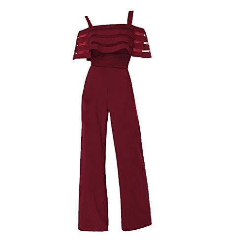 - Shusuen Women's Plus and Regular Size Racer Back Jumpsuit Cold Shoulder Jumpsuit Rompers Red