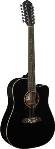 New Oscar Schmidt OD312CEB Right-Handed 12-String Dreadnought Cutaway Acoustic Electric Guitar, Gloss Black by Oscar Schmidt