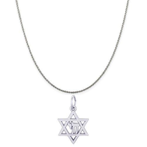 - Rembrandt Charms Sterling Silver Chai Star of David Charm on a Rope Chain Necklace, 18
